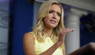 In this July 16, 2020, file photo, White House press secretary Kayleigh McEnany speaks during a press briefing at the White House in Washington. (AP Photo/Evan Vucci, File)
