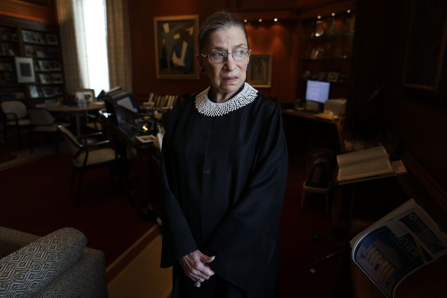 FILE - In this July 24, 2013, file photo, Associate Justice Ruth Bader Ginsburg poses for a photo in her chambers at the Supreme Court in Washington, before an interview with The Associated Press. Ginsburg, 87, developed a cultlike following over her more than 27 years on the bench, especially among young women who appreciated her lifelong, fierce defense of women's rights. She died Sept. 18, 2020. (AP Photo/Charles Dharapak, File)
