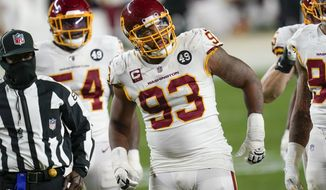 Washington Football Team defensive tackle Jonathan Allen (93) plays in an NFL football game against the Pittsburgh Steelers, Monday, Dec. 7, 2020, in Pittsburgh. (AP Photo/Keith Srakocic)