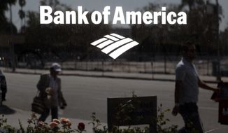 FILE - In this Sept. 12, 2011, file photo, a Bank of America sign is seen outside a bank branch in Los Angeles. Bank of America said Monday, Dec. 7, 2020, it is likely California paid at least $2 billion in fraudulent unemployment benefits, offering a glimpse of the potential size of the problem that has plagued states across the country during the pandemic. (AP Photo/Jae C. Hong, File)