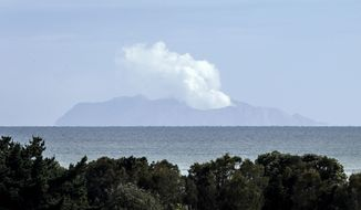 FILE - In this Dec. 11, 2019, file photo, plumes of steam rise above White Island off the coast of Whakatane, New Zealand, after a volcanic eruption on Dec. 9. New Zealanders commemorated the first anniversary on Wednesday, Dec. 9, 2020 of the volcanic eruption which killed 22 people. (AP Photo/Mark Baker, File)