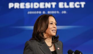 Vice President-elect Kamala Harris speaks during an event to announce the Biden administration's choice of retired Army Gen. Lloyd Austin to be secretary of defense, at The Queen theater in Wilmington, Del., Wednesday, Dec. 9, 2020. (AP Photo/Susan Walsh)