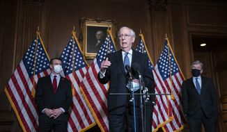 Senate Majority Leader Mitch McConnell of Kentucky, speaks during a news conference following a weekly meeting with the Senate Republican caucus, Tuesday, Dec. 8. 2020 at the Capitol in Washington. Americans waiting for Republicans in Congress to acknowledge Joe Biden as the president-elect may have to keep waiting until January as GOP leaders stick with President Donald Trumps litany of legal challenges and unproven claims of fraud. (Sarah Silbiger/Pool via AP) **FILE**
