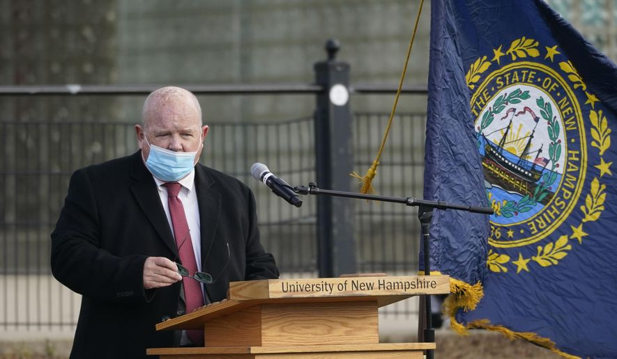 In this Dec. 2, 2020 photo, New Hampshire House Speaker Dick Hinch speaks during an outdoor legislative session at the University of New Hampshire in Durham, N.H. Hinch died, Wednesday, Dec. 9, 2020, just a week after he was sworn in as leader of the state's newly Republican-led Legislature. He was 71. (AP Photo/Elise Amendola)