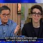 """MSNBC's Rachel Maddow reflects on the journalism industry with Stephen Colbert, Dec. 9, 2020. (Image: CBS, """"Late Show With Stephen Colbert,"""" video screenshot)"""