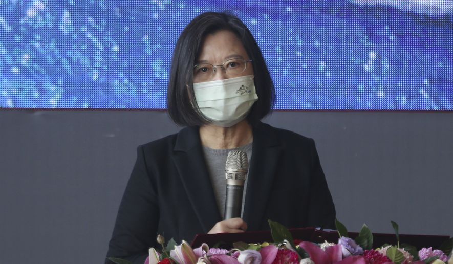 Taiwan's President Tsai Ing-wen speaks during a delivery and launching ceremony of domestically built warships at the Jong Shyn Shipbuilding Corp's shipyards in Kaohsiung, southern of Taiwan, Friday, Dec. 11, 2020. (AP Photo/Chiang Ying-ying) ** FILE **