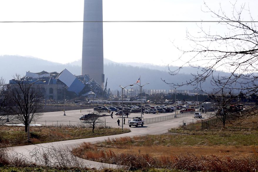 The Killen Generating Station, a closed power plant in Adams County, Ohio, collapsed Wednesday, December 9, 2020. Several workers were unaccounted for and one was taken to a hospital after the power plant that was being demolished collapsed Wednesday. It was not clear what caused the collapse at the Killen Generating Station, Adams County Sheriff Kimmy Rogers said. (Sam Greene/The Cincinnati Enquirer via AP)