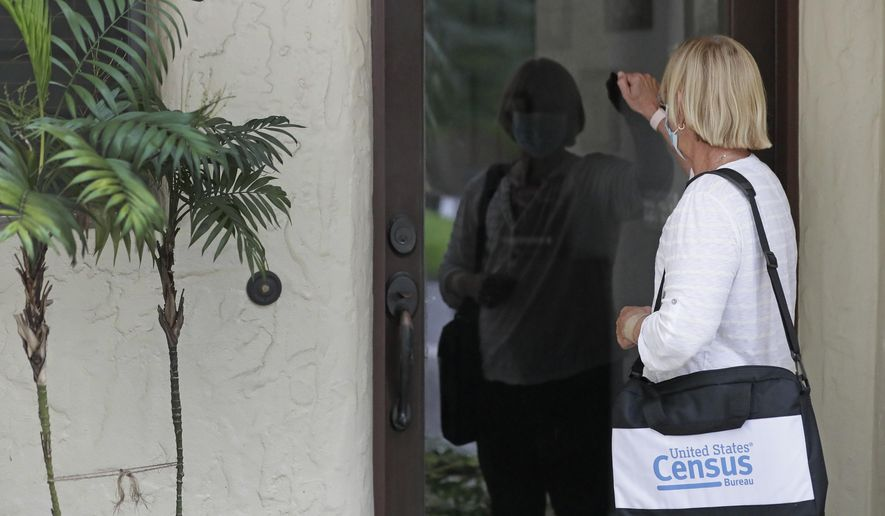 FILE - In this Aug. 11, 2020, file photo, a census taker knocks on the door of a residence in Winter Park, Fla. The congressional committee that oversees the Census Bureau issued a subpoena Thursday, Dec. 10, 2020, to U.S. Commerce Secretary Wilbur Ross for documents related to data irregularities that are putting in jeopardy a year-end deadline for turning in numbers used for divvying up congressional seats. Democrat U.S. Rep. Carolyn Maloney is the chair of the House Committee on Oversight and Reform. (AP Photo/John Raoux, File)