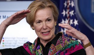 In this April 20, 2020, file photo, Dr. Deborah Birx, White House coronavirus response coordinator, speaks about the coronavirus in the James Brady Press Briefing Room of the White House in Washington. (AP Photo/Alex Brandon, File)
