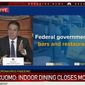 New York Gov. Andrew Cuomo demands federal relief for the Big Apple's bars and restaurants, Dec. 11, 2020. The Democrat told reporters that indoor dining would be suspended starting Dec. 14. (Image: NBC-4 New York, live video screenshot)
