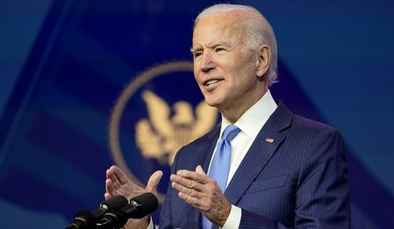 President-elect Joe Biden announces his choice for several positions in his administration during an event at The Queen theater in Wilmington, Del., Friday, Dec. 11, 2020. (AP Photo/Susan Walsh)