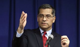 In this March 5, 2019, file photo, California Attorney General Xavier Becerra speaks during a news conference in Sacramento, Calif. (AP Photo/Rich Pedroncelli, File)