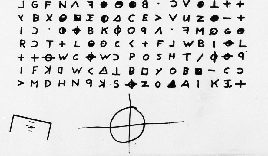 This is a file copy of a cryptogram sent to the San Francisco Chronicle in 1969 by the Zodiac Killer. A coded letter mailed to a San Francisco newspaper by the Zodiac serial killer in 1969 has been deciphered by a team of amateur sleuths from the United States, Australia and Belgium, the San Francisco Chronicle reported Friday, Dec. 11, 2020. (San Francisco Chronicle via AP, File)/San Francisco Chronicle via AP)