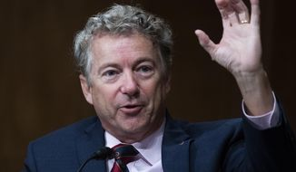 In this Sept. 24, 2020, file photo, Sen. Rand Paul, R-Ky., speaks during a Senate Homeland Security and Governmental Affairs Committee hearing on Capitol Hill in Washington. (Tom Williams/Pool via AP)  **FILE**