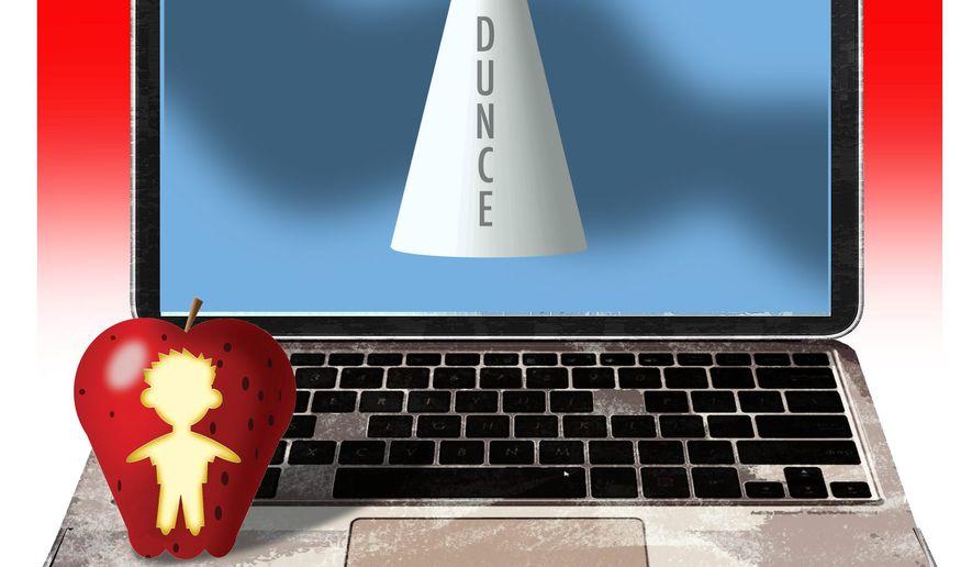Illustration on digital learning by Alexander Hunter/The Washington Times