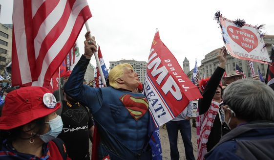 Supporters of President Donald Trump attend a rally at Freedom Plaza, Saturday, Dec. 12, 2020, in Washington. (AP Photo/Luis M. Alvarez) **FILE**