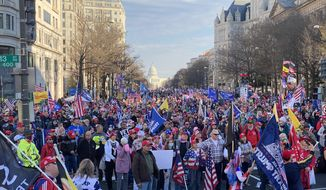 Thousands of Trump supporters gathered in downtown Washington, D.C. for rallies on Saturday, Dec. 12 2020. (Emily Zantow/The Washington Times)
