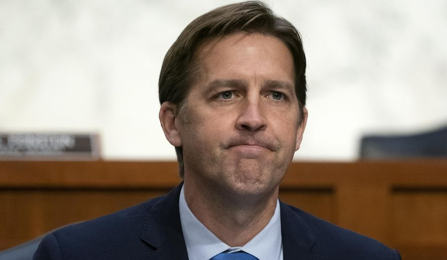 In this Oct. 14, 2020, photo Sen. Ben Sasse, R-Neb., questions Supreme Court nominee Amy Coney Barrett during the third day of her confirmation hearings before the Senate Judiciary Committee on Capitol Hill in Washington. (Stefani Reynolds/Pool via AP) **FILE**