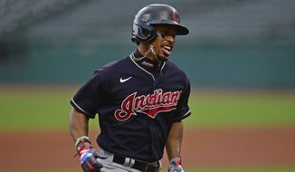 In this July 10, 2020, file photo, Cleveland Indians' Francisco Lindor runs the bases after hitting a home run during a simulated game at Progressive Field in Cleveland. The Indians are changing their name after 105 years, a person familiar with the decision told The Associated Press on Sunday, Dec. 13, 2020. After months of internal discussion prompted by public pressure and a national movement to remove racist names and symbols, the team is moving away from the name it has been called since 1915, said the person who spoke on condition of anonymity because the team has not revealed its plans. (AP Photo/David Dermer, File) **FILE**