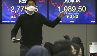 """A currency gestures as he talks with his colleagues at the foreign exchange dealing room of the KEB Hana Bank headquarters in Seoul, South Korea, Monday, Dec. 14, 2020. Shares were mostly higher in Asia on Monday as the Bank of Japan's quarterly """"tankan"""" survey showed stronger than expected business sentiment in a further sign the economy is recovering from recession. (AP Photo/Ahn Young-joon)"""