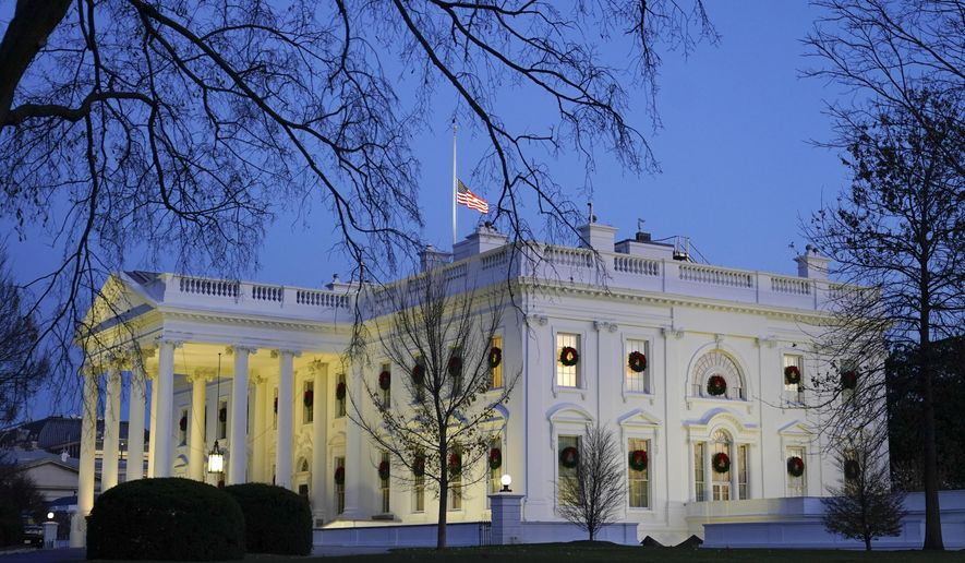Dusk settles over the White House, Monday, Dec. 7, 2020, in Washington. (AP Photo/Patrick Semansky)