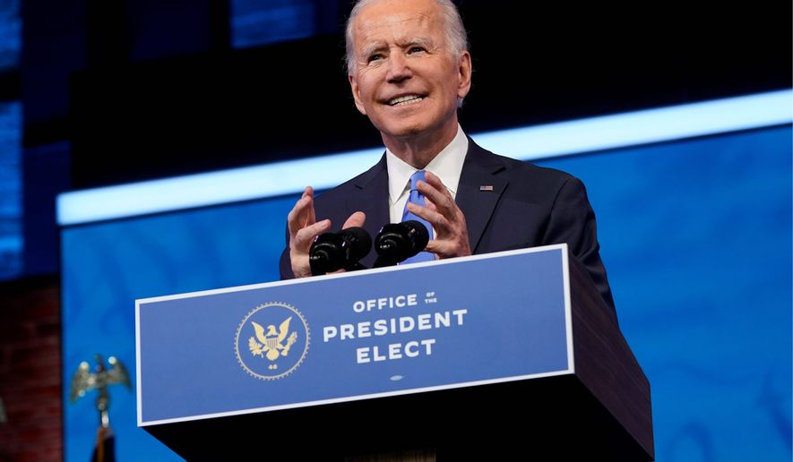 """President-elect Joseph R. Biden has signaled a more cautious approach to using executive power, saying the kind of authority his """"progressive friends"""" are talking about is """"way beyond the bounds."""" (Associated Press)"""