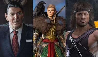 Top video game picks for gifts include Call of Duty: Black OPS Cold War with Ronald Reagan, Assassin's Creed Valhalla with Eivor and Mortal Kombat 11 Ultimate with Rambo.