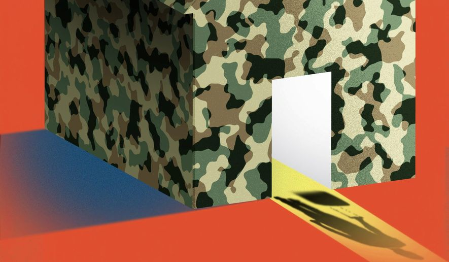 Illustration on bring troops home by Linas Garsys/The Washington Times