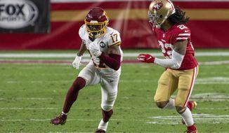 Washington Football Team wide receiver Terry McLaurin (17) in action against San Francisco 49ers cornerback Jason Verrett (22) during an NFL football game, Sunday, Dec. 13, 2020, in Glendale, Ariz. (AP Photo/Jennifer Stewart)