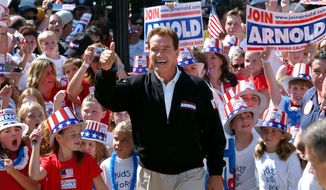 In this Oct. 5, 2003, file photo, Republican candidate for California governor Arnold Schwarzenegger walks up the steps to the state Capitol surrounded by children and waving to supporters during a campaign rally in Sacramento, Calif. (AP Photo/Steve Yeater, File)
