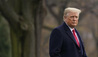 In this Dec. 12, 2020, photo, President Donald Trump walks on the South Lawn of the White House in Washington before boarding Marine One. (AP Photo/Patrick Semansky) **FILE**