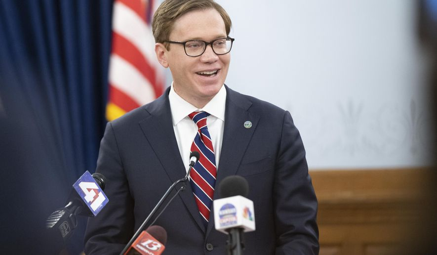 Kansas secretary of commerce David Toland smiles while giving remarks about the nomination for lieutenant governor by Gov. Laura Kelly during a press conference Monday, Dec. 14, 2020, in Topeka, Kan. (Evert Nelson/The Topeka Capital-Journal via AP)