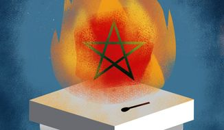 Illustration on a deal with Morocco by Linas Garsys/The Washington Times