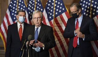 Senate Majority Leader Mitch McConnell of Ky., speaks during a news conference with other Senate Republicans on Capitol Hill in Washington, Tuesday, Dec. 15, 2020. Sen. John Barrasso, R-Wyo., left, and John Thune, R-S.D., right listen. (Nicholas Kamm/Pool via AP)
