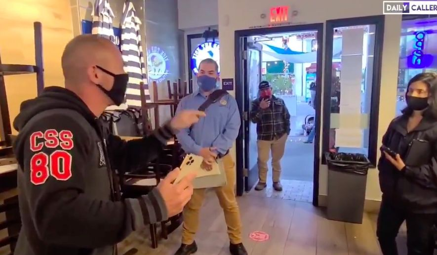 Anton Van Happen, owner of Nick The Greek restaurant in Ventura, California, has gone viral after confronting public health inspectors who tried to issue him a citation for allegedly breaking coronavirus-related restrictions. (Twitter/@VenturaReport)