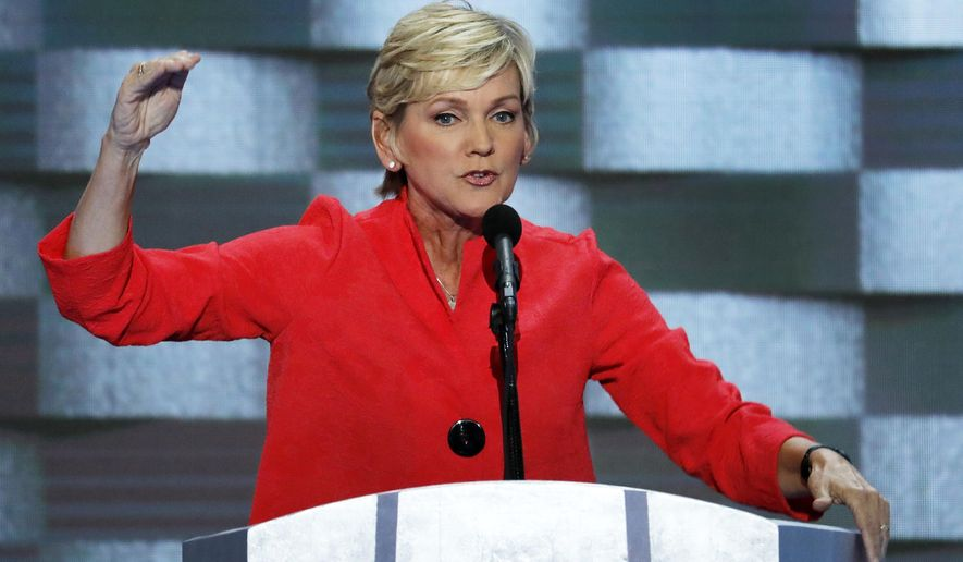 FILE - In this July 28, 2016, file photo, former Michigan Gov. Jennifer Granholm speaks during the final day of the Democratic National Convention in Philadelphia. Biden is expected to pick his former rival Pete Buttigieg as secretary of transportation and Granholm as energy secretary.  (AP Photo/J. Scott Applewhite, File)