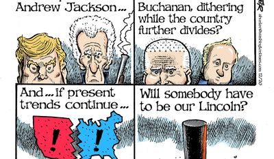 If Trump was like Andrew Jackson ... (Illustration by Alexander Hunter for The Washington Times)