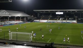 A general view during the English Premier League soccer match between Fulham and Brighton and Hove Albion at Craven Cottage stadium in London, Wednesday, Dec. 16, 2020. (Matthew Childs/Pool via AP)