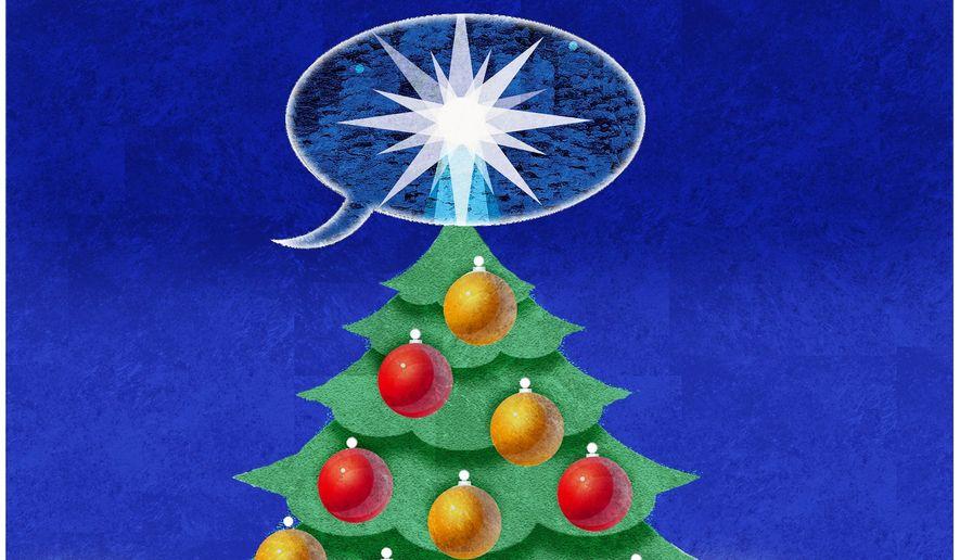 "Illustration on saying ""Merry Christmas!"" by Alexander Hunter/ The Washington Times"
