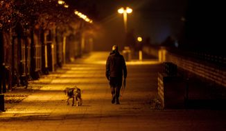 A man walks his dog in the outskirts of Frankfurt, Germany, Wednesday, Dec. 16, 2020, the first day of a nationwide lockdown. (AP Photo/Michael Probst)