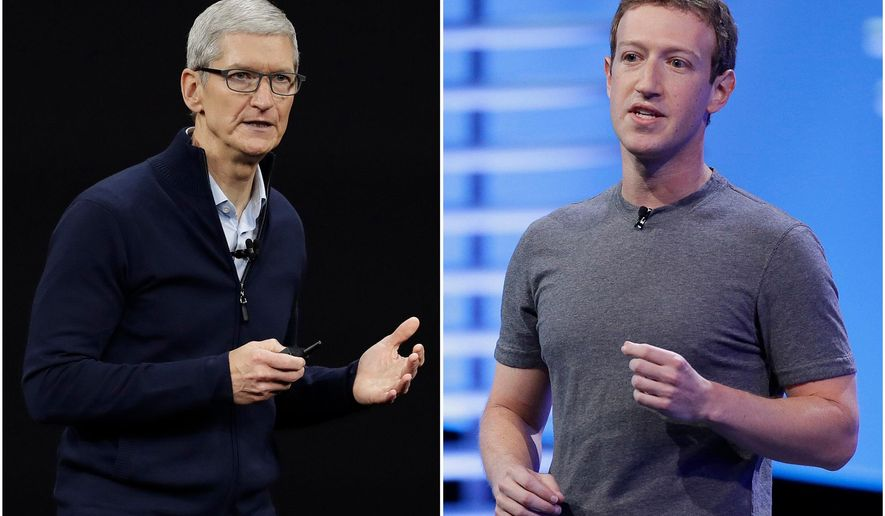 """In this combo of file photos, Apple CEO Tim Cook speaks on the new Apple campus on Sept. 12, 2017, in Cupertino, Calif., left, and Facebook CEO Mark Zuckerberg speaks at the F8 Facebook Developer Conference on April 12, 2016, in San Francisco, right. Facebook is again pushing back on new Apple privacy rules for its mobile devices, this time saying the social media giant is standing up for small businesses in full page newspaper ads. In ads that ran in The New York Times, The Wall Street Journal and other national newspapers, Facebook said Apple's new rules """"limit businesses ability to run personalized ads and reach their customers effectively.""""  (AP Photo/Eric Risberg, File)  **FILE**"""