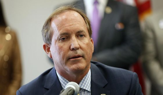 In this Sept. 10, 2020, file photo, Texas Attorney General Ken Paxton speaks at the Austin Police Association in Austin, Texas. (Jay Janner/Austin American-Statesman via AP)  **FILE**