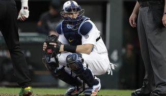 FILE - In this  Friday, Aug. 23, 2019 file photo, Tampa Bay Rays catcher Mike Zunino looks toward the dugout during the first inning of a baseball game against the Baltimore Orioles in Baltimore. The Tampa Bay Rays signed free agent catcher Mike Zunino to a $2 million, one-year contract Wednesday, Dec. 16, 2020 that includes a club option for 2022.(AP Photo/Julio Cortez, File)
