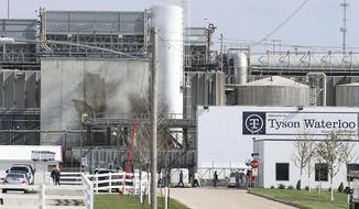 FILE - In this May 2020, file photo, Tyson's Fresh Meat workers file in for a tour of safety measures put into place after the plant in Waterloo, Iowa, had to shut down due to a COVID-19 outbreak. The family of a Tyson Foods employee are alleging in a lawsuit that he died from COVID-19 after the meat processing giant failed to implement safety protocols to guard against the coronavirus at the Iowa plant where he worked. (Brandon Pollock/The Courier via AP, File)