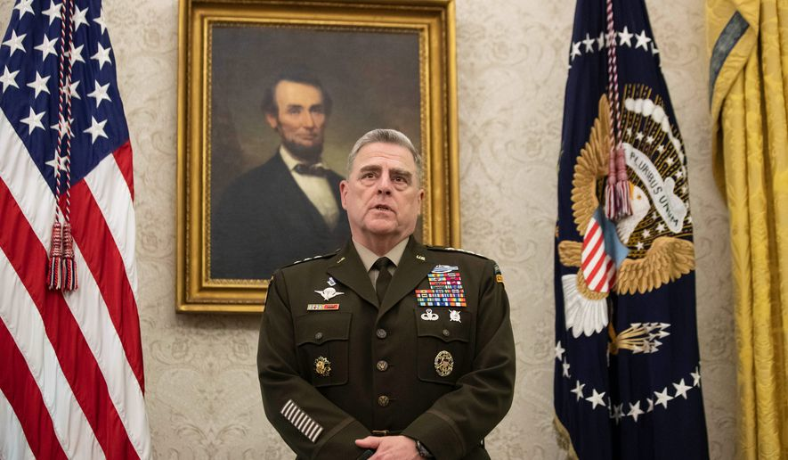 In this May 15, 2020, file photo, Joint Chiefs Chairman Gen. Mark Milley speaks during the presentation of the Space Force Flag in the Oval Office of the White House with President Donald Trump, in Washington. (AP Photo/Alex Brandon, File)  **FILE**