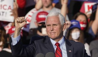"Vice President Mike Pence speaks during a ""Save the Majority"" rally on Thursday, Dec. 10, 2020, in Augusta, Ga. (AP Photo/John Bazemore)"