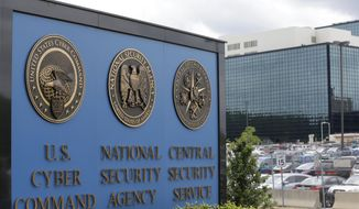 This June 6, 2013 file photo, shows the sign outside the National Security Agency (NSA) campus in Fort Meade, Md. (AP Photo/Patrick Semansky, File)