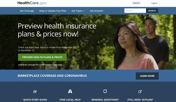 This image provided by U.S. Centers for Medicare & Medicaid Service shows the website for HealthCare.gov. (U.S. Centers for Medicare & Medicaid Service via AP) ** FILE **