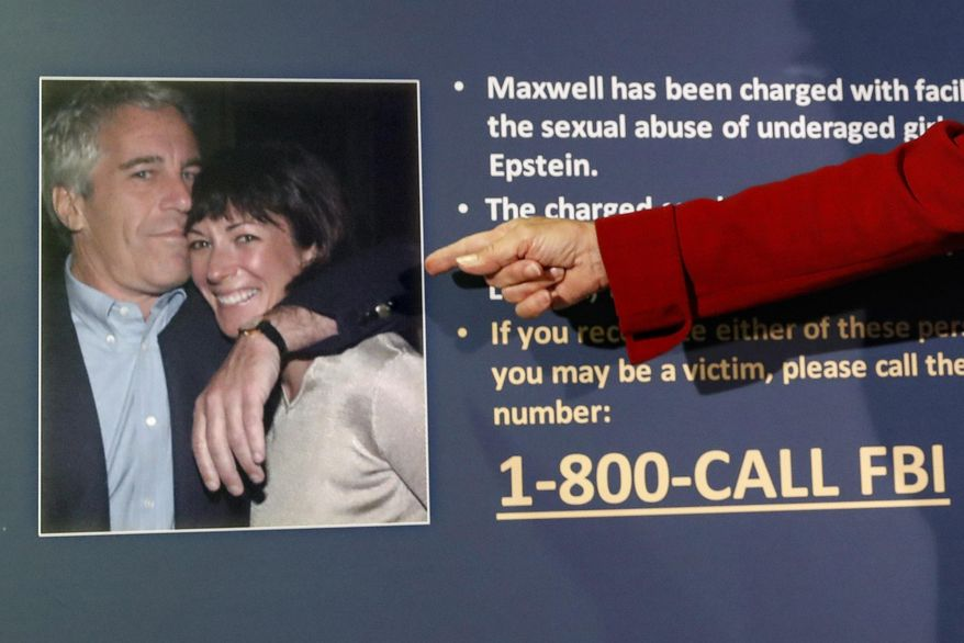FILE - In this July 2, 2020, file photo, Audrey Strauss, acting U.S. attorney for the Southern District of New York, points to a photo of Jeffrey Epstein and Ghislaine Maxwell during a news conference in New York. On Tuesday, Nov. 24, one of Maxwell's attorneys said that her client is awakened every 15 minutes in jail while she sleeps to ensure she's breathing. (AP Photo/John Minchillo, File)