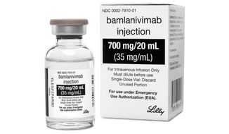 FILE - This photo provided by Eli Lilly shows the drug Bamlanivimab, the first antibody drug to help the immune system fight COVID-19. Antibodies are made by the immune system to fight the virus but it can take several weeks after infection for the best ones to form. This and a Regeneron medication aim to help right away, by supplying concentrated doses of one or two antibodies that worked best in lab tests. (Courtesy of Eli Lilly via AP)